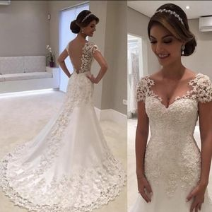Vintage  Backless Lace Mermaid Wedding Gown